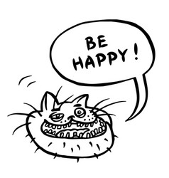be happy cartoon cat head vector image