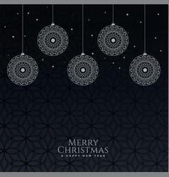 beautiful decorative christmas balls on black vector image