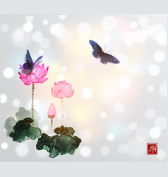 Big butterflies and lotus flowers on white glowing vector