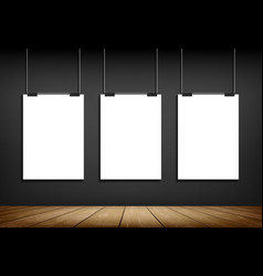Blank white paper sheet template hanging on wall vector