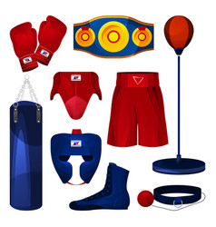 boxing equipment game tool collection set vector image