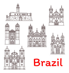 brazil landmarks architecture line icons vector image