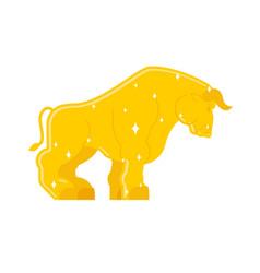 Bull golden statue isolated buffalo gold sculpture vector