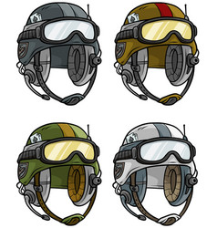 Cartoon modern army helmet icon set vector