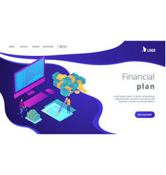 cash flow statement isometric 3d landing page vector image