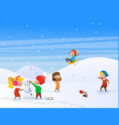 children playing outdoors in winter vector image