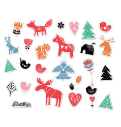 Christmas hand drawn stickers in nordic style vector