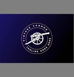 Circular vintage old cannon gun gunnery badge vector