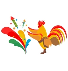 cock launches fireworks vector image