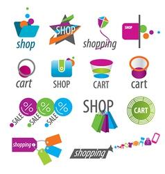 Collection of logos shopping vector