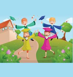 College students celebrating graduation vector