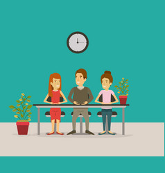 Color background with teamwork sitting in desk vector