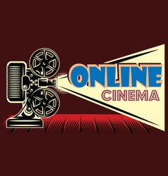 color online cinema advertising template on black vector image