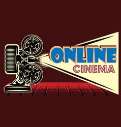 Color online cinema advertising template on black vector