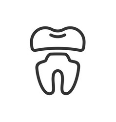 Crown ill tooth cute icon vector