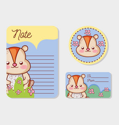 cute animal paper notes vector image