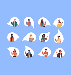 Diverse social culture young people set isolated vector