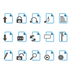 Document icons blue series vector image