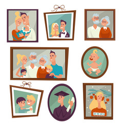 family portrait and photos in frames on wall vector image