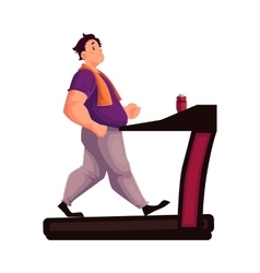 Fat man walking on the treadmill cartoon vector