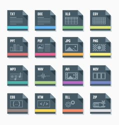 file formats icons set with vector image