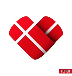 Flag icon in the form of heart I love Denmark vector