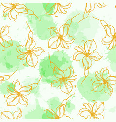 Flowers hand drawing seamless pattern with chinese vector