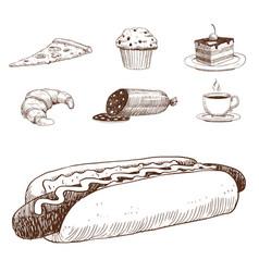 Food sketch natural menu restaurant fresh vector