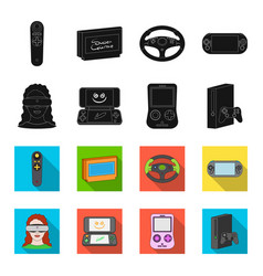 game console and virtual reality blackflet icons vector image