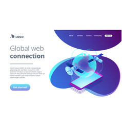Global web connection isometric 3d landing page vector
