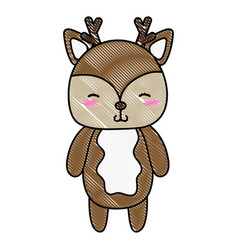 grated cute and shy deer wild animal vector image
