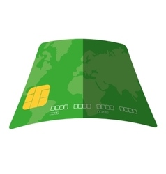 Green credit card pay bank transaction flat icon vector