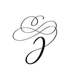 hand drawn calligraphic floral j monogram vector image