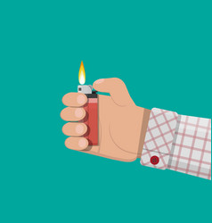 hand holding plastic lighter vector image