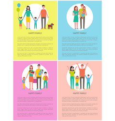 happy family set posters vector image