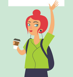 happy girl hipster drinking coffe vector image