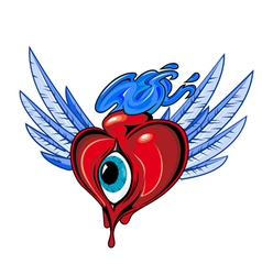 Heart with eye tattoo design vector