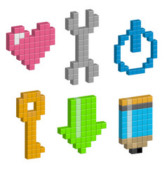 heart wrench power button load pencil in pixel vector image