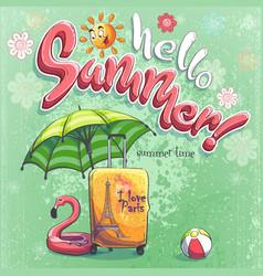 hello summer cartoon background vector image