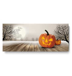 Holiday halloween banner with pumpkins and moon vector