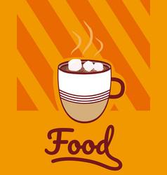 Hot coffee with sugar cubes cartoon menu cover vector