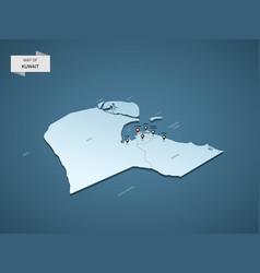 Isometric 3d kuwait map concept vector