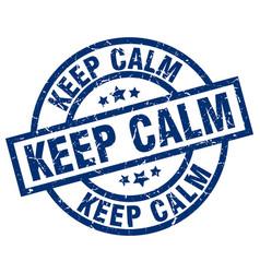 Keep calm blue round grunge stamp vector