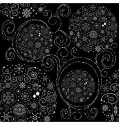 Line art design Christmas seamless pattern vector image