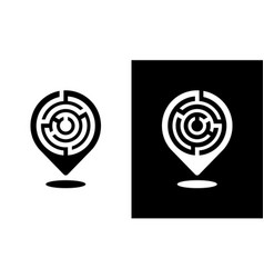 Location pin icon with a labyrinth pattern vector