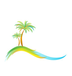 logo two palm trees on island on sea or vector image