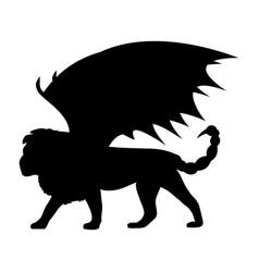 manticore silhouette mythology symbol fantasy vector image