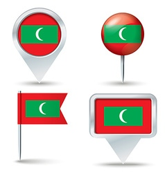 Map pins with flag of Maldives vector image