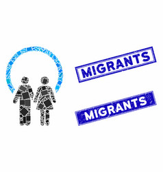 Marriage mosaic and scratched rectangle migrants vector