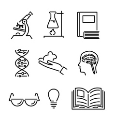 Modern Line Science Knowledge Study Icons and vector image